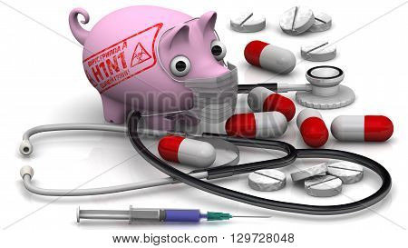 "Swine influenza. Influenza A virus (H1N1). Sad pig with a medical mask on muzzle medications on a white surface and the imprint of ""Influenza A virus (H1N1). Swine influenza (Russian language)"". Isolated. The three-dimensional illustration poster"