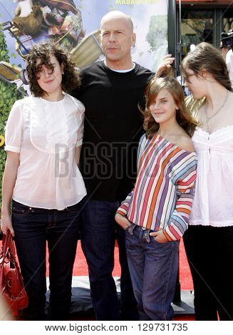 Rumer Willis, Tallulah Belle Willis, Bruce Willis and Scout Larue Willis at the Los Angeles premiere of 'Over The Hedge' held at the Mann Village Theatre in Westwood, USA on April 30, 2006.