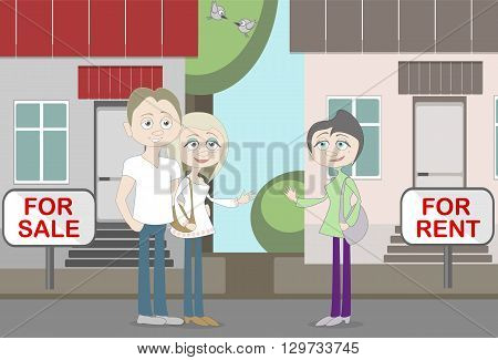New neighbors speak about house for rent and house for sale. Good offer. New buyer and owner. Young family find a new house. poster