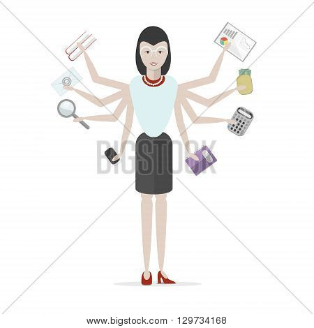 Multitasking businessman with six hands standing on white background. Successful businessman. Workaholic. Talented and professional. Leadership.