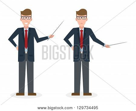 Businessman with pointer on white background. Businessman standing isolated. Presenter and salesman. Smiling positive man.