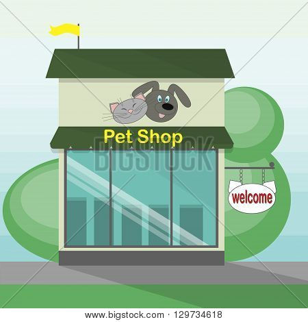 Pet shop storefront. Retro architecture. Animal market. Shop facade with sign and banner on the street.