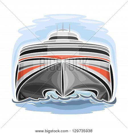 Vector illustration of logo for high-speed car ferry catamaran, consisting of velocity passenger express ship, floating on the ocean sea waves close-up on blue background