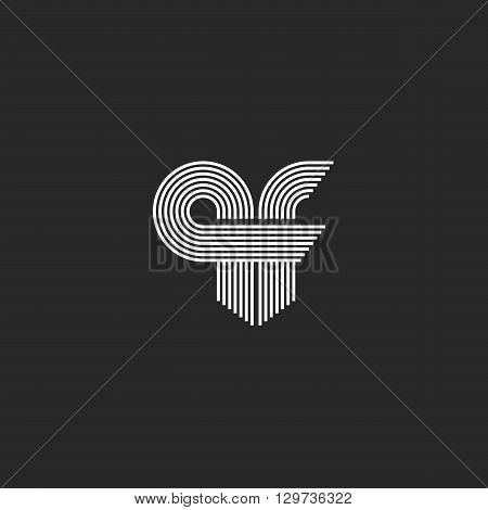 Monogram Combination Initials Qf Letters Logo For Business Card, Conjunction Q F Letters Offset Line