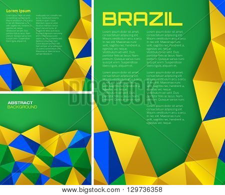 Set of  Abstract geometric backgrounds using Brazil flag colors, vector a4 format. Abstract vector template A4 size design, with  Brazil 2016 colored geometric shapes.  Brazil square Banners 2016