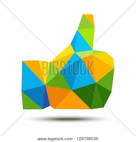 Bright geometric triangle polygonal thumb up icon using Brazil flag colors 2016, vector illustration. Brazil colors triangular thumb up hand emblem. Business and technology Brazil logo vector concept.