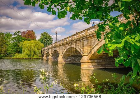 The bridge over the Serpentine in Hyde Park in London on a lovely sunny morning