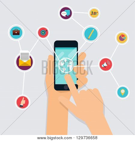 Internet Of Things Concept. Business Icons. Hand Holding A Smartphone, Revealing A Net Of Wireless C