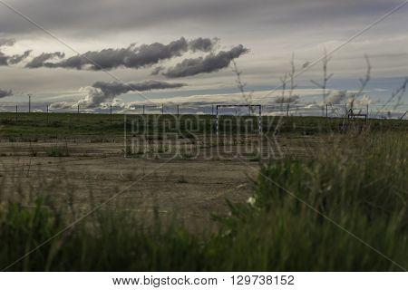 viejo campo de futbito abandonado y ocupado por la naturaleza