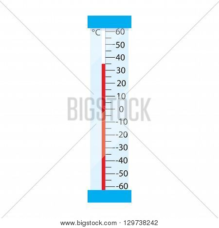 Street mercury thermometer. Measurement by Celso temperature. Icon thermometer in flash design. Thermometer isolated on white background. Vector illustration.