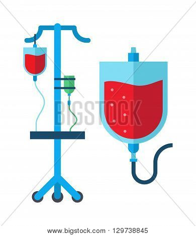 Blood transfusion system pop art style vector illustration. Medical blood transfusion illustration. Conceptual medical blood transfusion illustration. Blood transfusion health donation.