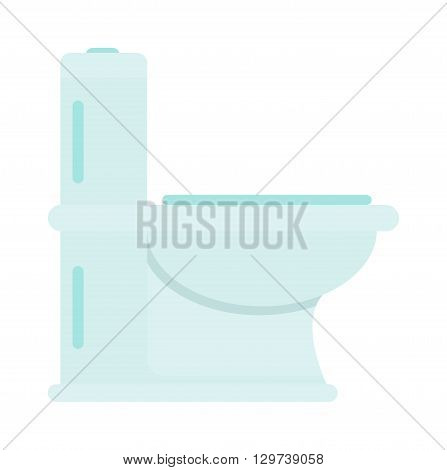 Lavatory toilet and clean toilet bowl. Domestic porcelain toilet flush interior element, sanitary home bathroom interior. White sanitary clean toilet bowl in bathroom bath design washroom flat vector.