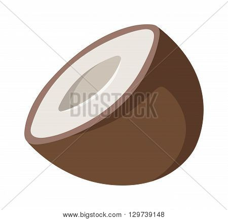 Half coconut isolated on white and natural coconut tropical food. Coconut food and coconut exotic brown food with sweet milk fruit. Break nutrition natural ingredient palm diet coconut food.