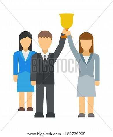 Successful team business leaders corporate professional teamwork concept vector illustration. Successful executives business leaders. Business leaders executive concept symbol, successful team.