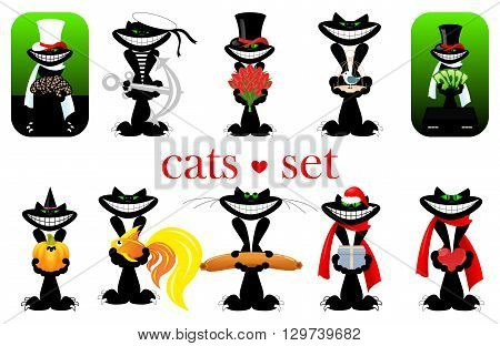 set of  happy black cats. vector. isolated