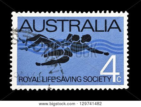 AUSTRALIA - CIRCA 1966 : Cancelled postage stamp printed by Australia, that shows  75th anniversary of Royal Life Saving Society.