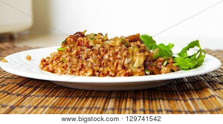 Fried Mushrooms On A Plate