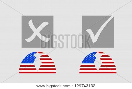 USA flag textured persons icon with vote mark. Image relative to parliament president and others elections in United States of America