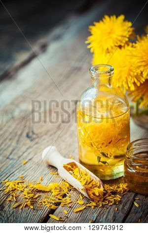 Bottle Of Dandelion Tincture Or Oil, Flower Bunch And Honey On Table. Herbal Medicine.