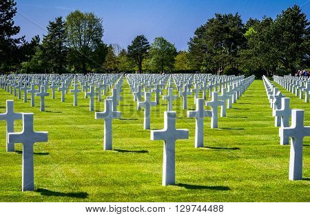 Colleville Sur Mer France - May 23 2012: Normandy,  the American Cemetery of the second World War.