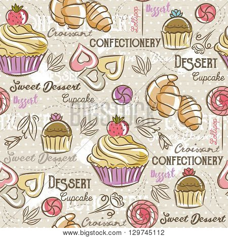Seamless Patterns with different sweetmeats Background with cupcake croissant cake and bonbon. Ideal for printing onto fabric and paper or scrap booking.