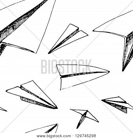 Paper planes pattern. Black and white vector stock illustration. Seamless background pattern