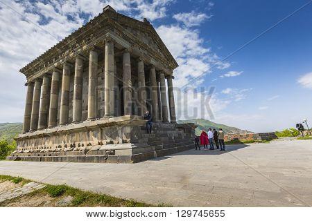 Garni ARMENIA - May 02 2016 : Ancient Garni pagan Temple the hellenistic temple in Armenia