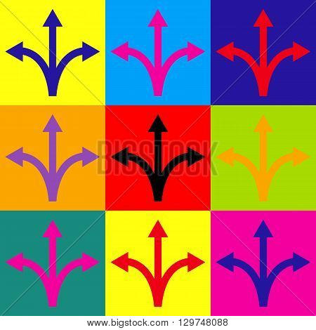 Three-way direction arrow sign. Pop-art style colorful icons set.