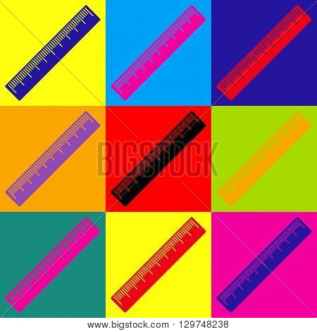 Centimeter ruler sign. Pop-art style colorful icons set.