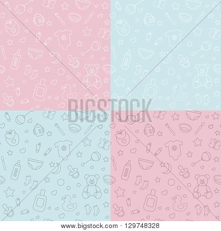 Collection of baby seamless patterns Easy to edit and recolor.Linear style. Design for packagingfor baby shop for invitation and baby shower card.Vector illustration