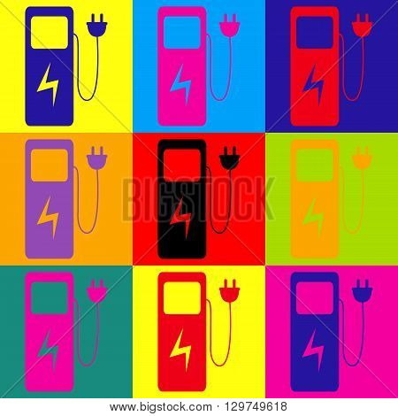 Electric car charging station sign. Pop-art style colorful icons set.
