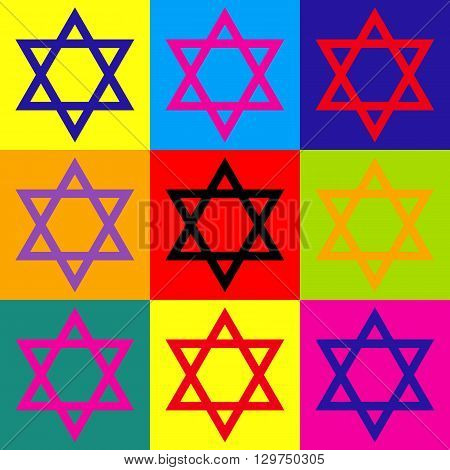 Star. Shield Magen David. Symbol of Israel. Pop-art style colorful icons set.