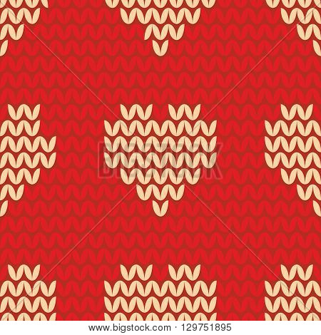 Tile knitting vector pattern with yellow hearts on red background