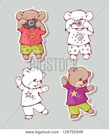 Vector set of funny cartoon bears isolated from a background. Monochrome and color version. Hand-drawn illustration.