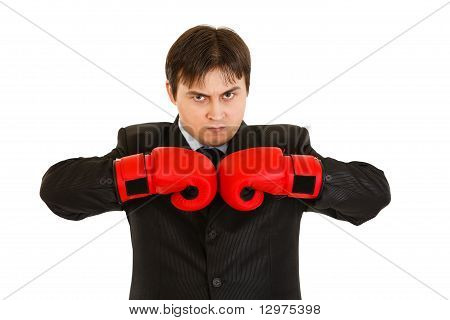 Angry young businessman with boxing gloves isolated on white