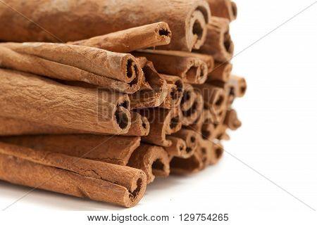 Raw Organic Cinnamon sticks (Cinnamomum verum) isolated on white background. Front side view.