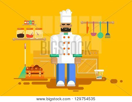 Stock vector illustration of character chef in uniform chef in kitchen, utensils, furniture. Chief-cooker kitchen of restaurant, cafe, flat style element for info graphic, website, game, motion design