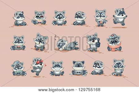 Set Vector Stock Illustrations isolated Emoji character cartoon Raccoon cub sticker emoticons with different emotions for site, info graphic, video, animation, website, e-mail, newsletter, report, comic