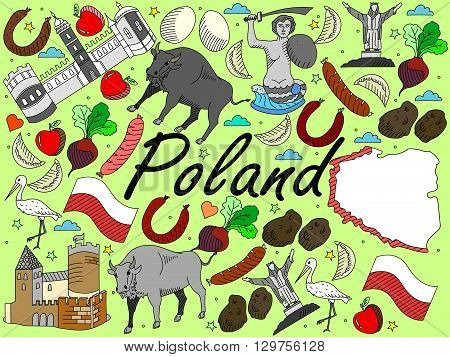 Vector line art Doodle set of cartoon characters and objects on Poland.