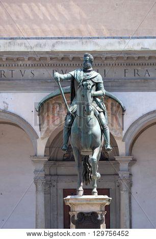 FLORENCE, ITALY - JUNE 05: Statue of Ferdinando I de' Medici at he Piazza della Santissima Annunziata in Florence, Italy, on June 05, 2015