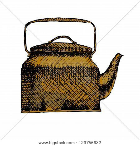 Teapot isolated on white. Colorful hand drawn vector stock illustration