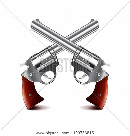 Crossed guns isolated on white photo-realistic vector illustration
