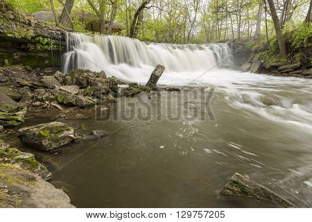 A waterfall on the Minneopa River during spring.