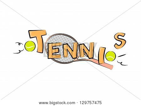 illustration on the theme of sport and a healthy lifestyle - tennis.
