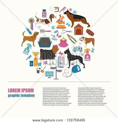 Dog info graphic template. Heatlh care, vet, nutrition, exhibition. Vector illustration