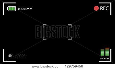 Camera viewfinder. Template focusing screen of the camera. Viewfinder recording. Video screen on a black background. vector illustration