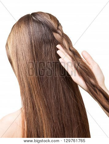 Barber girl braids of the long hair in a braid isolated on white background.