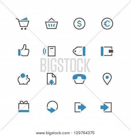Business vector icon set 2 - different blue and grey symbols on the white background