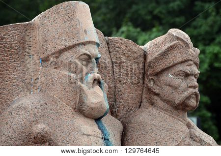 KIEV,UKRAINE - MAY 15, 2016: Ukrainian vandalism.Broken nose on Monument to Reunion of Ukraine and Russia in Kiev, Ukraine (ukrainian nazionalists have tradition to vandalise monuments). Kiev. Ukraine