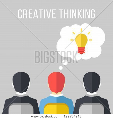 Creative thinking. Two black and white Businessmen and one colorful one with idea sitting on chairs. Creative thinking, creative idea, extraordinary person concepts. Flat design vector illustration